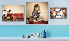 Portraits can be stretched on a frame and arrive ready to hang without any assembly required
