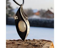 Frozen  Moonstone Metal Soldered Pendant by AtelierQ on Etsy