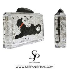 Panther Of The Light Silver Clutch, hand painted and hand-gilded with genuine silver leaf. Handcrafted clear acrylic clutch from the makers of luxury goods for Louis Vuitton, Mulberry and Philippe Starck. Shop our Instagram. Link in bio! #StefaniePhan #si