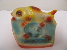 VINTAGE PLASTER CHALKWARE CARNIVAL PRIZE - LARGE FISH ASHTRAY