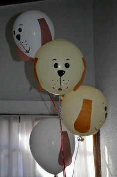 Balloons for a puppy party! Dog Themed Parties, Puppy Birthday Parties, Puppy Party, Cat Party, Dog Birthday, Birthday Party Themes, Birthday Ideas, Adoption Party, Animal Birthday