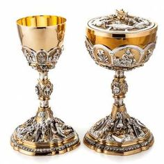 Chalice and ciborium deposition of Christ Catholic Altar, Ceramic Pots, Mason Jar Wine Glass, Sacred Art, Medieval Fantasy, Religious Art, Creations, Bronze, Online Sales