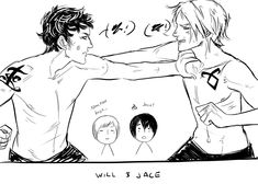 """Will and Jace from The Infernal Devices and The Mortal Instruments ... """"It started off as an argument and turned into fisticuffs."""" Drawn by Cassandra Jean ... alexander 'alec' lightwood, jace herondale, james 'jem' carstairs, the infernal devices, the mortal instruments, william 'will' herondale"""