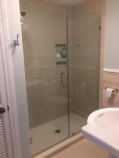 Frameless Shower Enclosure Featuring 3 8 Clear Tempered Gl And Chrome Hardware Clamps Through Robe Hook