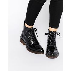Shoes by Bronx, Leather-look upper, Patent finish, Lace-up fastening, Back tab, Point toe, Chunky sole, Wipe with a damp cloth.