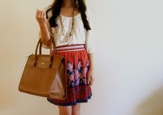 Fun skirt & Kate Spade bag