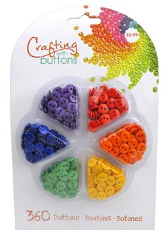 This beautiful button wheel contains 360 two hole buttons. The colors in this Primary wheel include green, blue, purple, red, orange and yellow. Arts And Crafts Kits, Fun Crafts, Crafts For Kids, Types Of Buttons, Doll Sewing Patterns, Button Art, Online Craft Store, Sewing A Button, Creative Decor