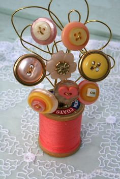 Peach Yellow and Gold Vintage Button Spool by MyFancifulNotions
