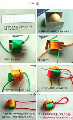 Note the detailed steps of the tri-color ball, the first color not to wound too tight, be careful when pumping the cardboard, and those of the second color, the final transfer line should be adjusted gradually, keeping the formation of the coil.