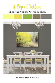 "Shop the yellow wall art collection by Beverly Brown Prints. Featured here is ""Yellow Forsythia"" canvas art in a dining room with a grey, yellow & white color scheme. Yellow Wall Art, Colorful Wall Art, Yellow Walls, Yellow Painting, Grey Yellow, Colorful Paintings, Yellow Dining Room, New York Painting, Artwork For Home"