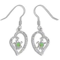 Sterling Silver Green Turquoise Hawaiian Honu in CZ Heart Fish Wire Earrings