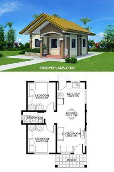 Little House Plans, Guest House Plans, Sims House Plans, Cottage Style House Plans, Small House Floor Plans, House Layout Plans, Small House Layout, Bungalow House Plans, 2 Bedroom House Design