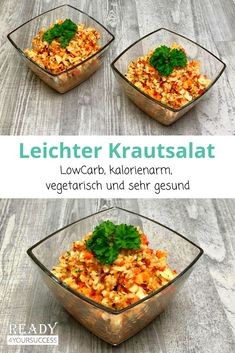 Leichter Krautsalat - schmeckt genau so lecker wie er aussieht, ist super gesund und extrem kalorienarm. Ideal als schneller, einfacher Beilagensalat zu Würsten, Grillfleisch und Co. Für alle, die gerne abnehmen wollen und auf gesunde Ernährung wert legen, der perfekte Salat. Weißkohl ist ballaststoffreich, macht lange satt und liefert zusätzlich noch eine Menge guter Vitamine. #Kohl #Karotten #Paprika #LowCarb #ohneSahne #leicht #lecker #einfach #gesund #kalorienarm #abnehmen Chana Masala, Serving Bowls, Low Carb, Salad, Healthy Recipes, Tableware, Ethnic Recipes, Food, Super