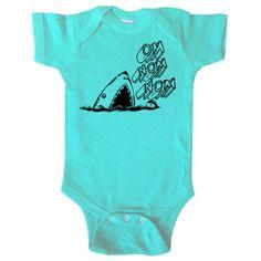 Om Nom Nom - Great White Shark One Piece Bodysuit - Baby Boy - Baby Girl - Baby and Toddler - Hipster Baby - Baby Omnomnom Shirt