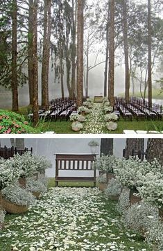 Outdoor Wedding/  What a beautiful setting in the trees.  Love the baskets of baby's breath