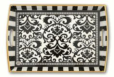 Black Damask Decoupage Wooden Tray