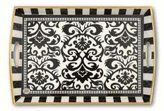Black Damask Decoupage Wooden Tray