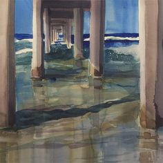Watercolor Giclee Print  The Pier by OlliffStudio on Etsy, $40.00