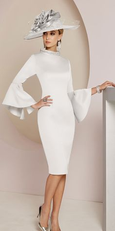 Lace Wedding Dresses, Elegant Satin High Collar Sheath/Column Mother Of The Bride Dresses With Beadings, Find your personal style and the perfect wedding dress for your special wedding day Unique Dresses, Modest Dresses, Elegant Dresses, Beautiful Dresses, Dresses With Sleeves, Bride Dresses, Dresses Uk, Formal Dresses, Mother Of Bride Outfits
