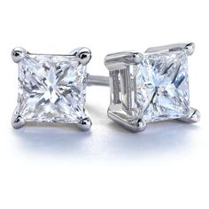 Blue Nile Princess-Cut Diamond Stud Earrings in 18k White Gold (1 ct. ($1,770) ❤ liked on Polyvore