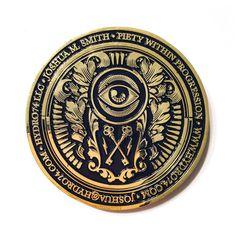 Business Card Coin on Behance Coin Design, Badge Design, Label Design, Wood Business Cards, Business Card Design, Monogram Design, Lettering Design, Art Deco Logo, Logo Garden