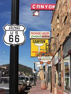 Route 66 in Williams, Arizona. Have this exact picture from the roadtrip :)