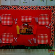 Job board for picnic themed classroom. I wrote the jobs on the cups and used Velcro on the plates student names are on hotdog and hamburgers that are put on the plates.
