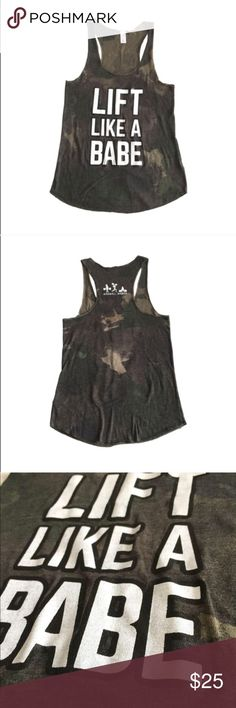 Barbell Babes Camo Workout CrossFit Tank M Barbell Babes 'Lift Like A Babe' Racerback Tank in Dreamy Camo.  True to size, looser fit.  No trades. No holds.  Fast shipping! Barbell Babes Tops Tank Tops
