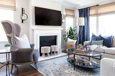 Blue, white, greys and beige living room color scheme.
