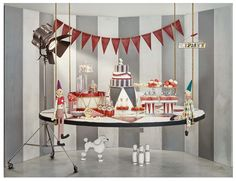 """Circus dessert table, """"Nina Say Cheese"""", limited styling and props by Taryne Jakobi, photography by Vanessa Lewis"""