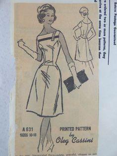 1950s 60s Oleg Cassini Dress Sewing Pattern Mail Order A631 14 34 Vintage #ProminentDesigner