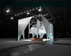 Cold, sharp planes of the triangles are supported against the ground on their acute angles and give  a cold/piercing impression. Moreover, these planes pointed in different directions (according to the network of squares) ensure attraction towards the inside of the stand and provide clear limits of the stand.