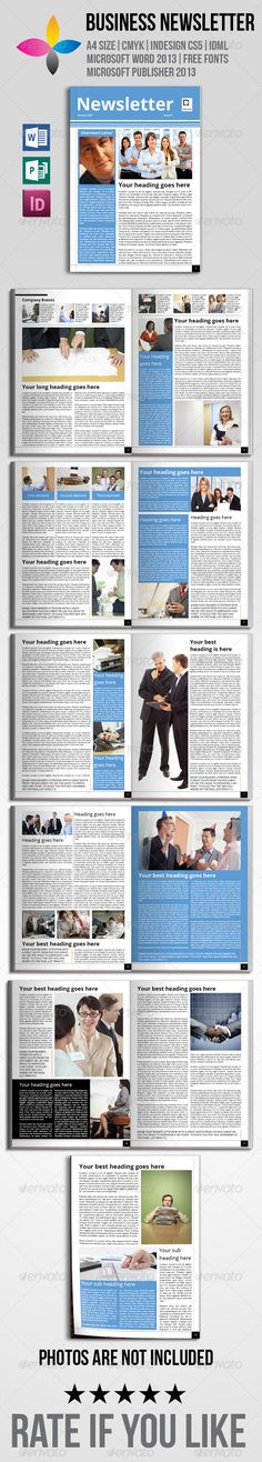 Business Newsletter A4 Newsletter templates, A4 and Template - business newsletter