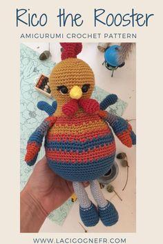 Rooster crochet amigurumi toy pattern, LaCigogne design #lacigognefr #crochetpattern #amigurumipattern #amigurumitoy #rooster