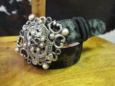 Rusty Spur Couture Leatherock Black Snake Embossed Belt - 9158, ,