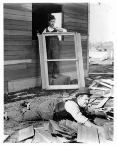 Oliver Hardy and Stan Laurel build a house in a scene from the film 'The Finishing Touch' 1928