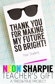 Neon Sharpies make the perfect teacher's gift! Free printable label included. #StaplesBTS #PMedia #ad