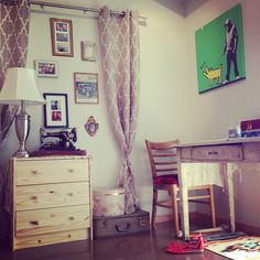 My studio apartment project... Vintage furniture, wall curtains that happened on accident because the rod was too short for my windows, and Banksy to mix up the vibe.