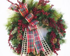 Christmas Wreath, Woodland Wreath,Holiday Wreath, Berry Wreath, Winter Wreath with Plaid Bow , Evergreen Wreath, Artificial Canadian Pine