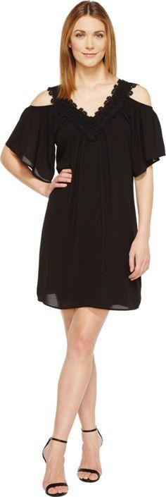 Karen Kane Women's Neck Trim Cold Shoulder Dress, Black, XL