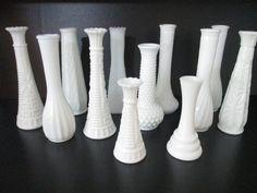 Wedding Vases White Milk Glass One Dozen by GirlPickers on Etsy