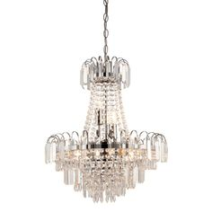 The Amadis is an impressive 6 light glass chandelier with clear glass beads, faceted droplets and a chrome finish. It is dimmable and suitable for use with LED lamps Hallway Chandelier, Mini Chandelier, Chandelier Lighting, Empire Chandelier, Antique Chandelier, Faceted Glass, Glass Beads, Elegant