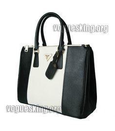 Prada Saffiano White/Black Cross Veins Leather Business Tote ...