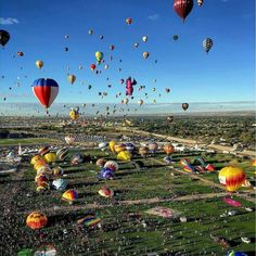 The Albuquerque International Balloon Fiesta is currently underway in Albuquerque, New Mexico, USA. The annual, nine day event is the largest event of its kind in the world with more than 500 balloons. This incredible overview, captured by Alexandra. Albuquerque Balloon Festival, Albuquerque Balloon Fiesta, Earth Photos, Air Balloon Rides, Adventure Is Out There, Travel Essentials, Travel Inspiration, Travel Ideas, Travel Advice