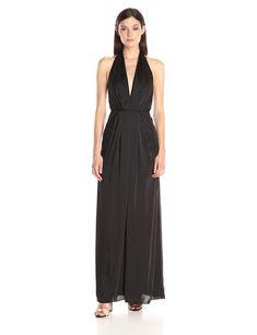 Jill Jill Stuart Women's Halter Deep-V Matte Charmuese Gown