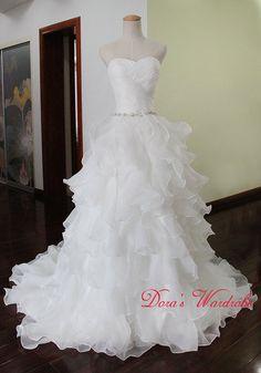 White Wedding dress,A-line Sweetheart Wedding dress,Layered Bridal gown,Custom made wedding dress,Brush train wedding dress on Etsy, $239.66 AUD