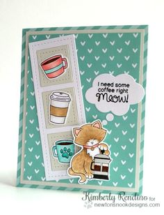 Coffee Cat Card by Kimberly Rendino | Newton Loves Coffee Stamp set by Newton's Nook Designs #newtonsnook #coffee