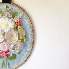 Image of Cadre Sous Verre Bombe Fleurs Sechees Vintage