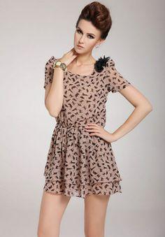 cat ruffle chiffon dress