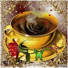 GIFS HERMOSOS: flores encontradas en la web Good Morning Gif Images, Good Morning Flowers Gif, Good Morning Nature, Good Morning Coffee, Coffee Gif, Coffee Images, Coffee Love, Coffee Break, Monday Morning Greetings